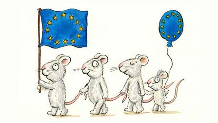 Illustration von Mäusen mit einer Europa-Flagge.