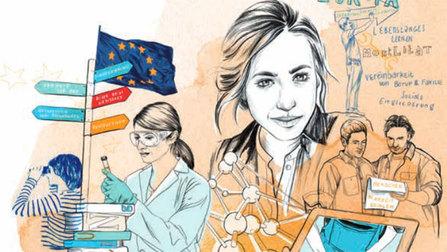 Illustration von verschiedenen Arbeitsmotiven und Europa-Motiven.