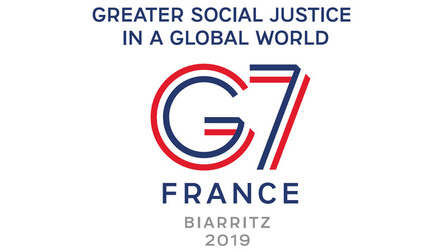 Logo G7. Greater social justice in a global world. France, Biarritz 2019.