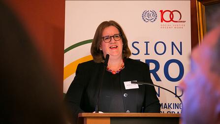 """Parlamentarische Staatssekretärin Kerstin Griese am 10. Dezember 2019 bei der Veranstalltung """"Mit dem Vision Zero Fund gute Arbeit weltweit fördern."""""""