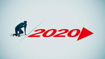 Illustration einer Person, die an einer Linie in der Startposition steht, auf dem Boden steht die Zahl 2020 mit einem Pfeil.