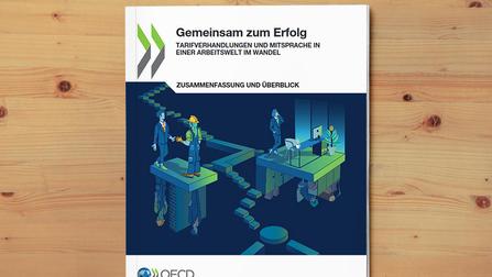 OECD-Publikation auf einem Holzuntergrund.