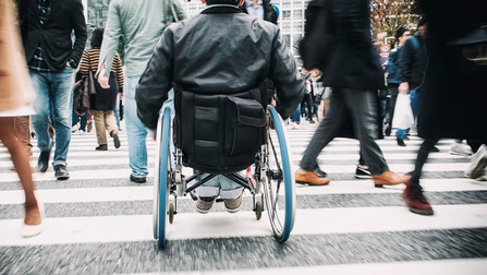 Ein Rollstuhlfahrer und andere Personen überqueren einen Zebrastreifen.