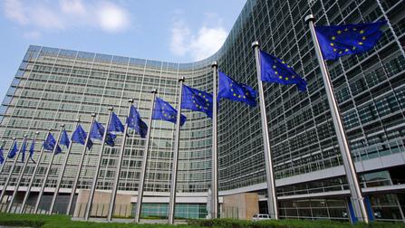 Flaggen vor dem Europa-Parlament.