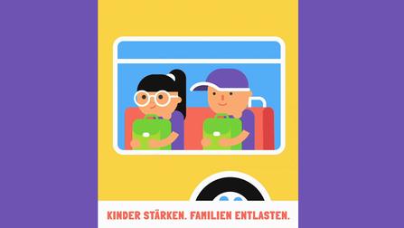 Illustration von Kinder in einem Schulbus.