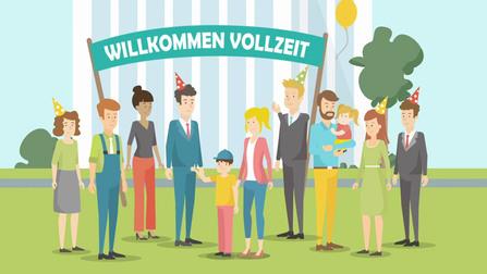"""Illustration von einer Gruppe von Leuten, die Partyhüte tragen. Dahinter steht ein Schild """"Willkommen Vollzeit""""."""