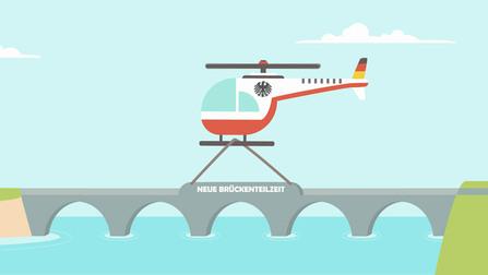 """Illustration von einem Hubschrauber, der eine Brücke repariert. Auf der Brücke steht """"Neue Brückenteilzeit""""."""