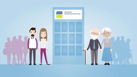 Eine Illustration von einem jungen und einem alten Paar. In der Mitte ist ein Gebäude der Deutschen Rentenversicherung.