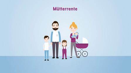 """Illustration von einer Familie mit drei kleinen Kindern. Darüber steht """"Mütterrente""""."""