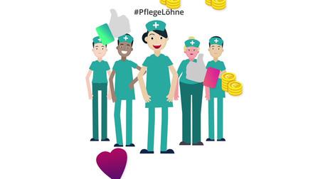 Illustration von Pflegern mit Geld- und Like-Emojis. Darüber steht �#PflegeLöhne�.