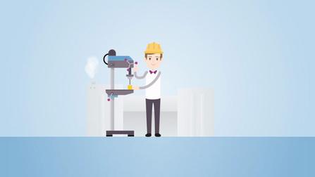 Zeichnung von einem Arbeiter an einer Maschine.