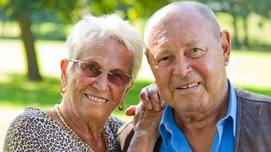 Elderly couple smiling Opens page: Old-age pensions