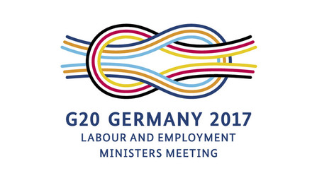 Logo G20 Germany 2017. Labour and employment ministers meeting. Opens page: www.g20ewg.org