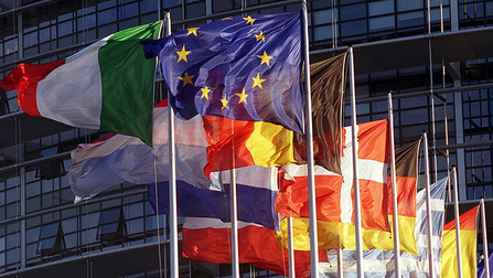 Flags of several European countries. Opens page: International Employment and Social Policy