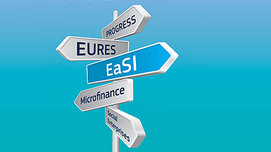 "Signpost with signs named ""Progress"", ""Eures"", ""Easi"", ""Microfinance"" and ""Social Enterprises"".  Opens page: EU Programme for Employment and Social Innovation  (""EaSI"")"