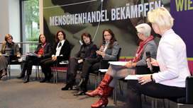 "Participants in the panel discussion on ""Fighting human trafficking - The way forward in Germany"". Opens page: The Federal Ministry of Labour and Social Affairs establishes a national service point against human trafficking"