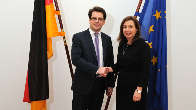 State Secretary Albrecht and Deputy Minister Roussinova from Bulgaria. Opens page: State Secretary Albrecht meets with Deputy Minister Roussinova from Bulgaria