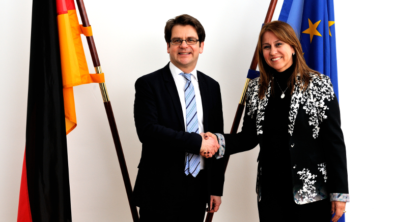 Thorben Albrecht and Colombia's Minister of Labour Griselda Janeth Restrepo Gallego. Opens page: Colombia's Minister of Labour visits Federal Ministry of Labour and Social Affairs
