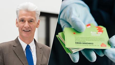 Bildcollage: Links ein Mann im Anzug, rechts eine Hand mit Visitenkarten
