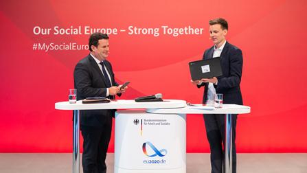 Bundesarbeitsminister Hubertus Heil am Podium