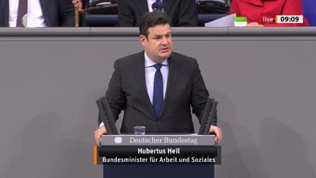 Bundearbeitsminister Hubertus Heil am Rednerpult.