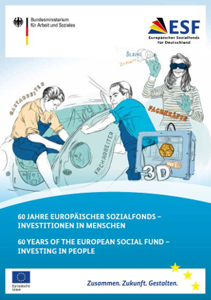 "Title cover of the brochure ""60 years of the european social fund - investing in people""."
