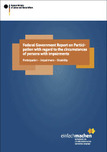 Cover of the publication: Federal Government Report on Participation with regard to the circumstances of persons with impairments. Opens page: Federal Government Report on Participation with regard to the circumstances of persons with impairments