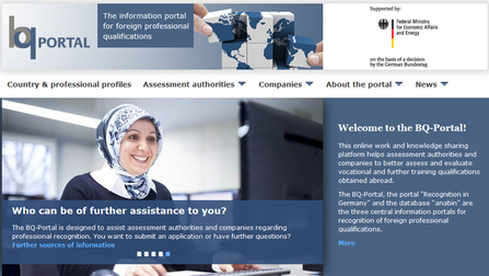 Information portal for foreign professional qualifications Opens page: BQ Portal
