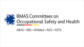 Logo of the BMAS Committees on Occupational Safety and Health: ABAS, ABS, AfAMed, AGS,ASTA. Opens page: Committees on Occupational Safety and Health