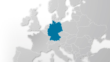 Map of Europe, Germany is highlighted. Opens page: EGF Projects in Germany