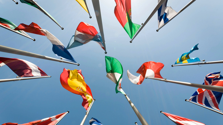 Flags of different European countries  Opens page: European Union/ European Employment and Social Policy