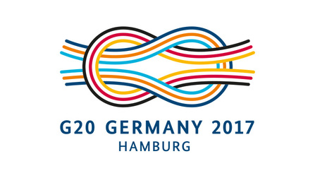Logo G20 Germany 2017 Hamburg. Opens page: www.g20germany.de