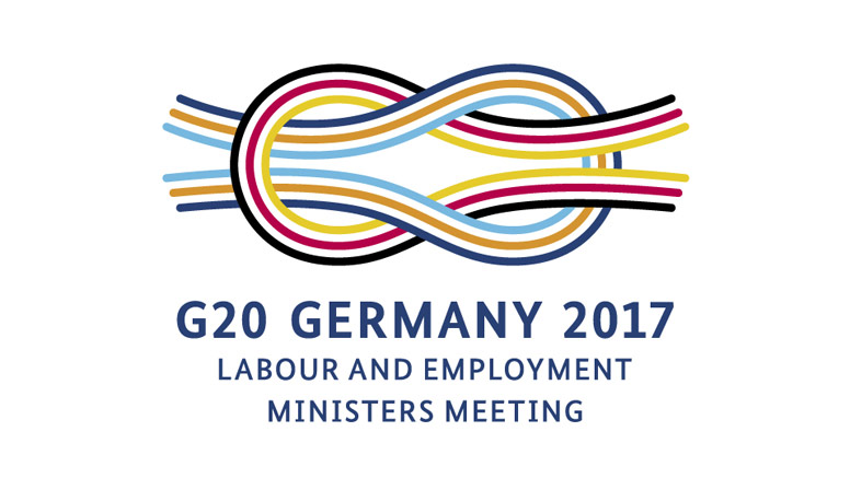 Logo G20 Germany 2017. Labour and employment ministers meeting. Opens page: The German G20 Presidency 2017