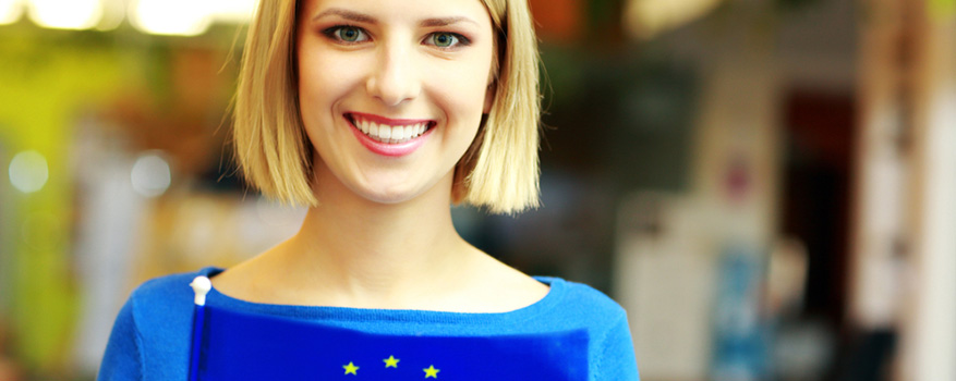 Woman holding a flag of the EU